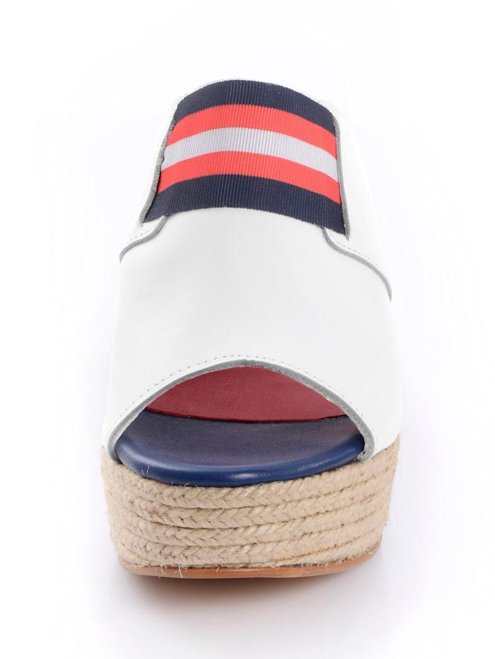 Pantolette mit textilem Einsatz im maritimen Style