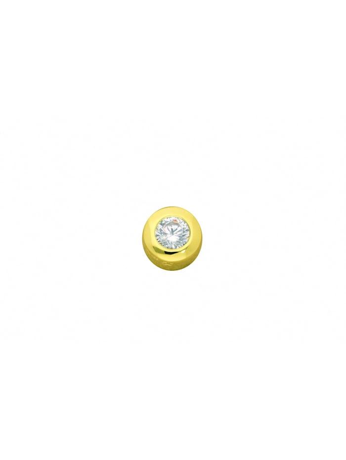 1001 Diamonds Damen Silberschmuck 925 Silber Anhänger mit Zirkonia Ø 7 mm, vergoldet