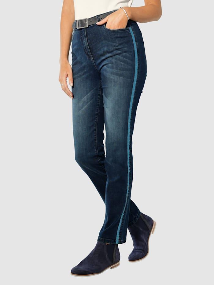 Paola Jeans met paillettenband opzij, Blue stone