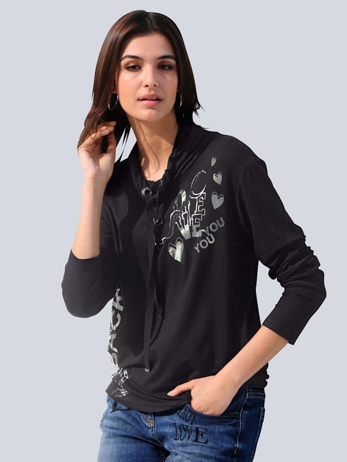 Alba Moda Shirt mit Schriftzug-Print im Vorderteil, Schwarz/Silberfarben
