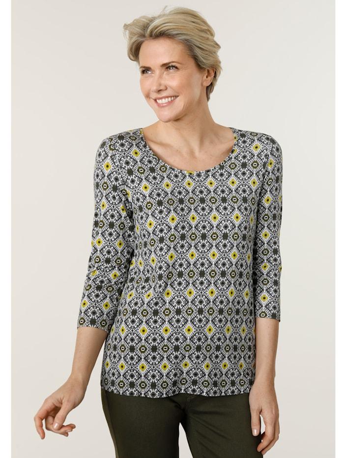 MONA Shirt mit grafischem Alloverdruck, Oliv/Limettengrün/Taupe