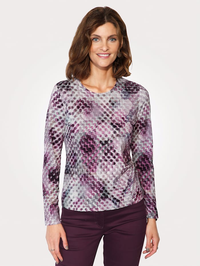 Barbara Lebek Top with graphic print, Berry/Grey