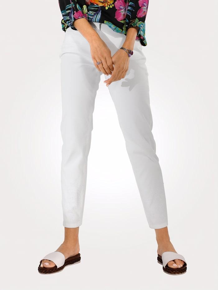 MONA Jeans mit floraler Stickerei, Weiß
