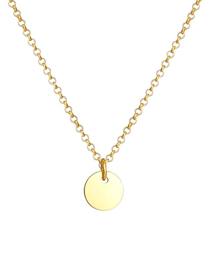 Halskette Kinder Plättchen Kreis Coin Erbskette 925 Silber