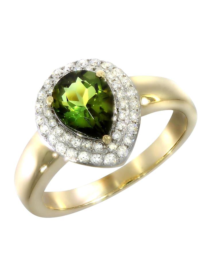 Creazione Bijoux Ring 750/- Gold Turmalin grün Turmalin Glänzend 1,34ct. 750/- Gold, gelb