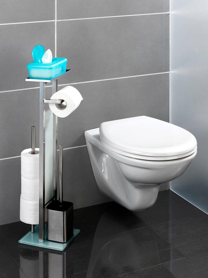 Wenko Toiletset 4-in-1, zilverkleur/wit
