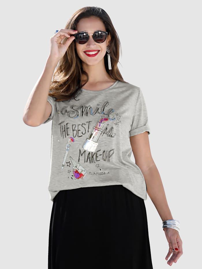 MIAMODA Shirt mit Schriftzug und Dekosteinen, Grau