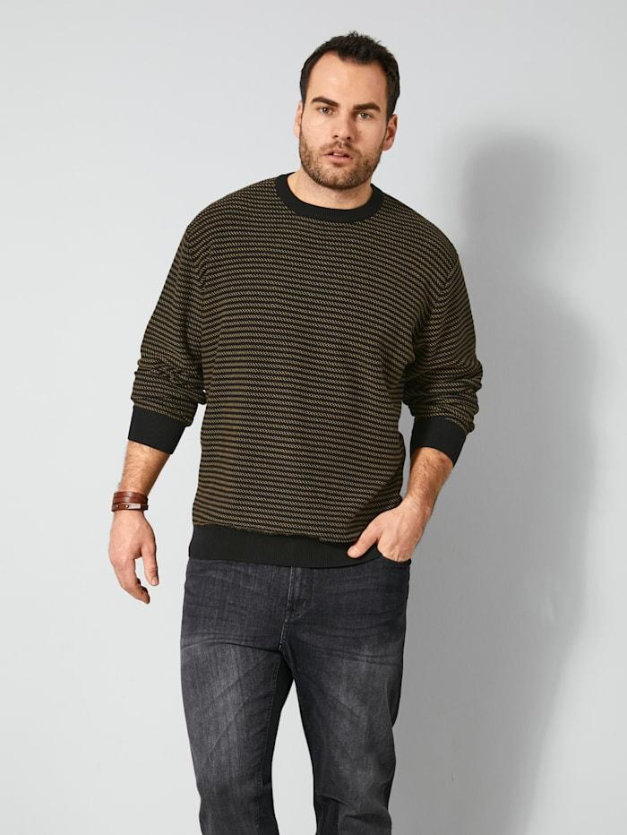Men Plus Pullover mit Strick-Struktur, Schwarz/Sand