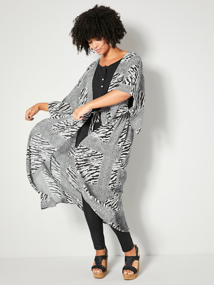 Angel of Style Kaftan met bindbandje in de taille, Offwhite/Zwart