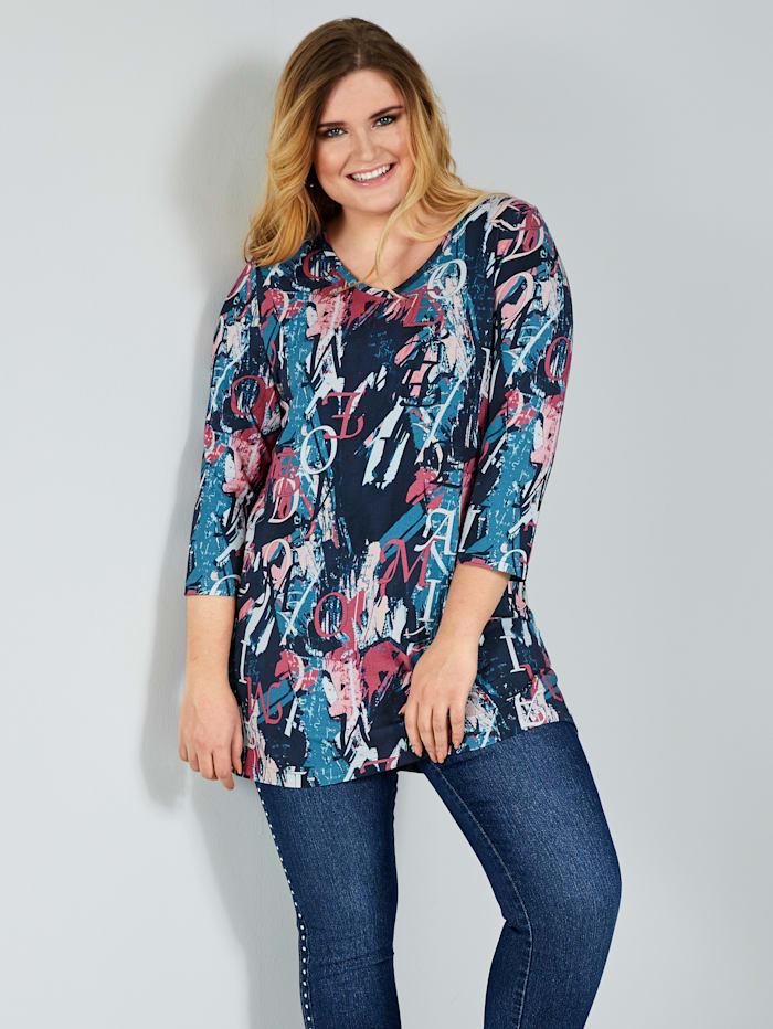 MIAMODA Longshirt mit buntem Druck, Marineblau/Pink