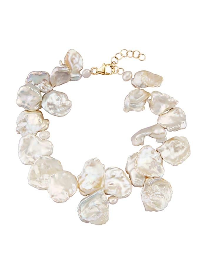 Armband mit Perlen, Weiß