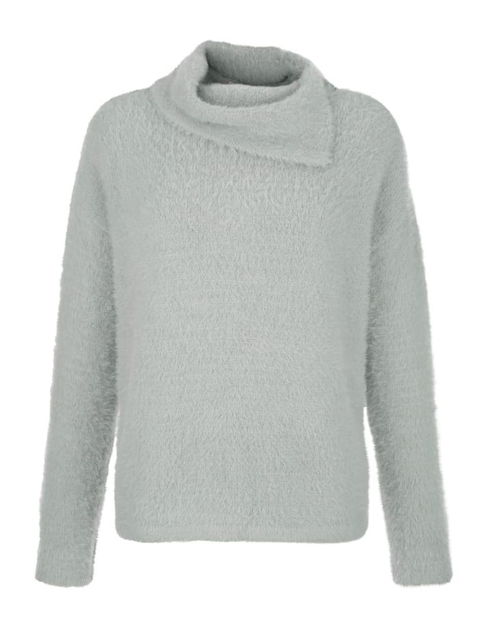 Alba Moda Pullover in effektvollem Flauschgarn, Hellgrau