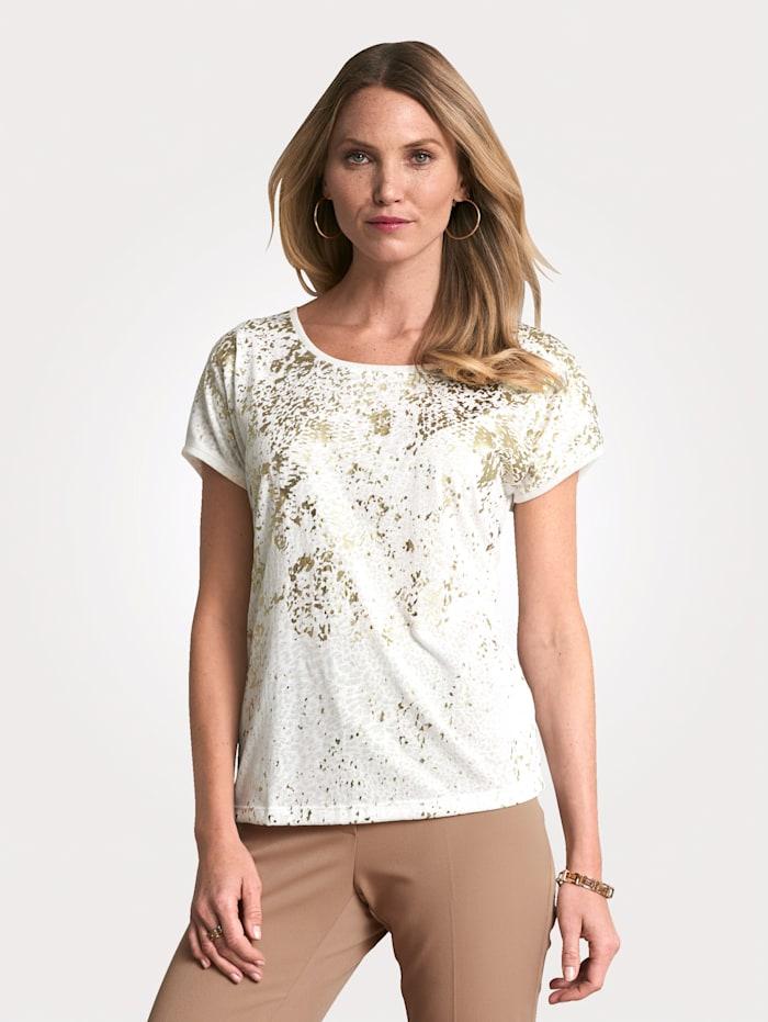 MONA T-shirt en matière dévorée, Écru/Coloris or