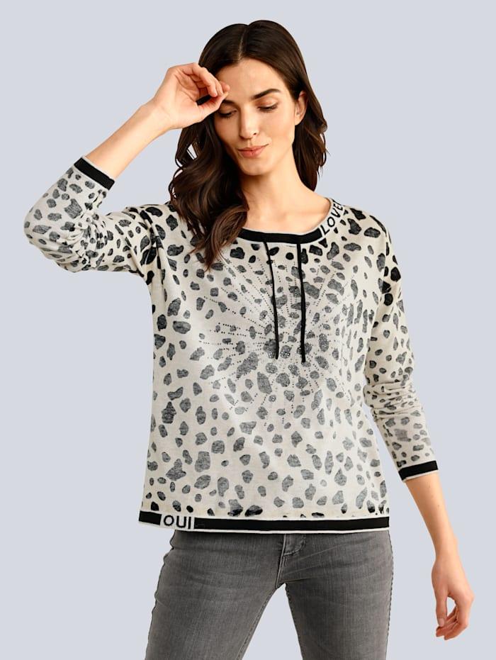 OUI Pullover im modischen Print, Camel/Grau