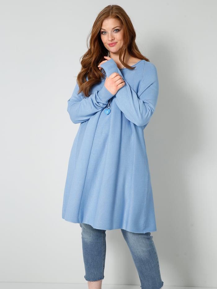 Sara Lindholm Trui in flatterend model, Jeansblauw
