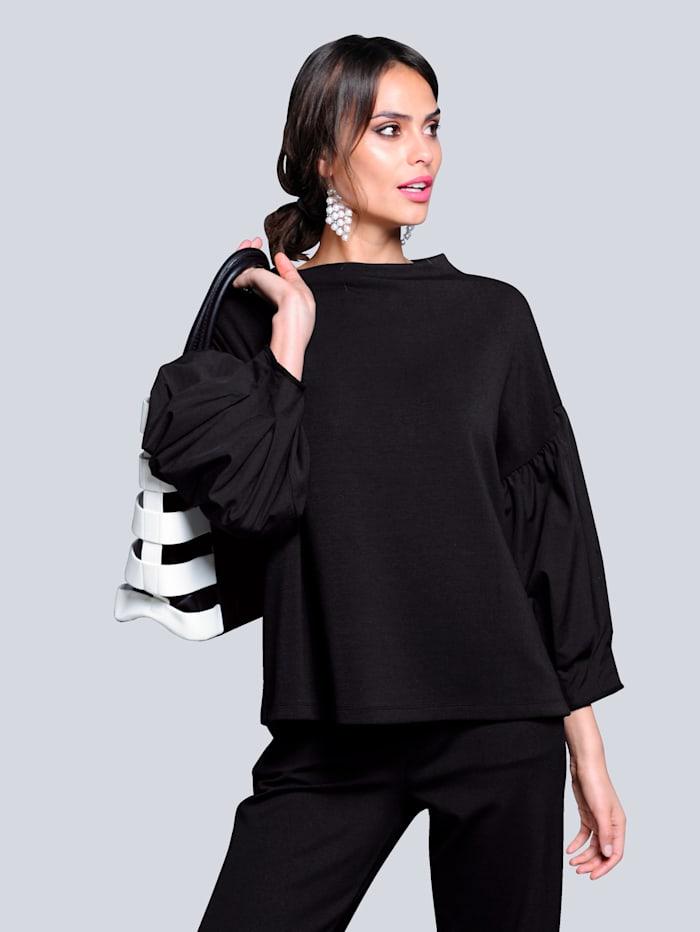 Alba Moda Shirt mit kleinem Stehkragen, Schwarz