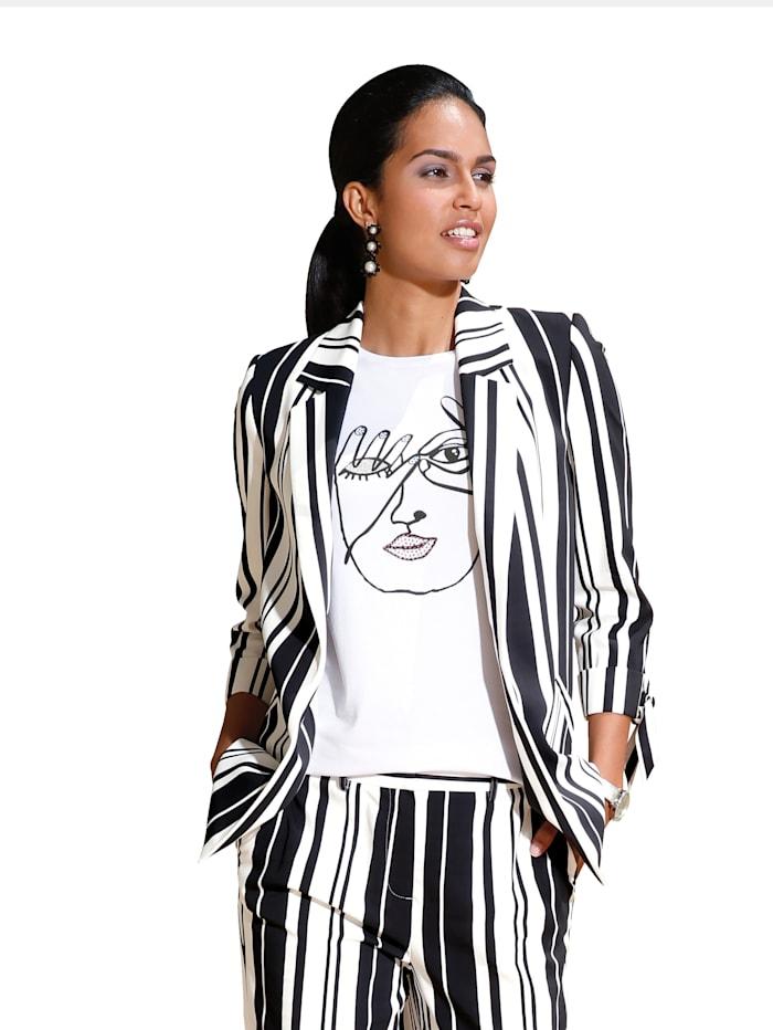 AMY VERMONT Shirt mit abstraktem Print, Weiß