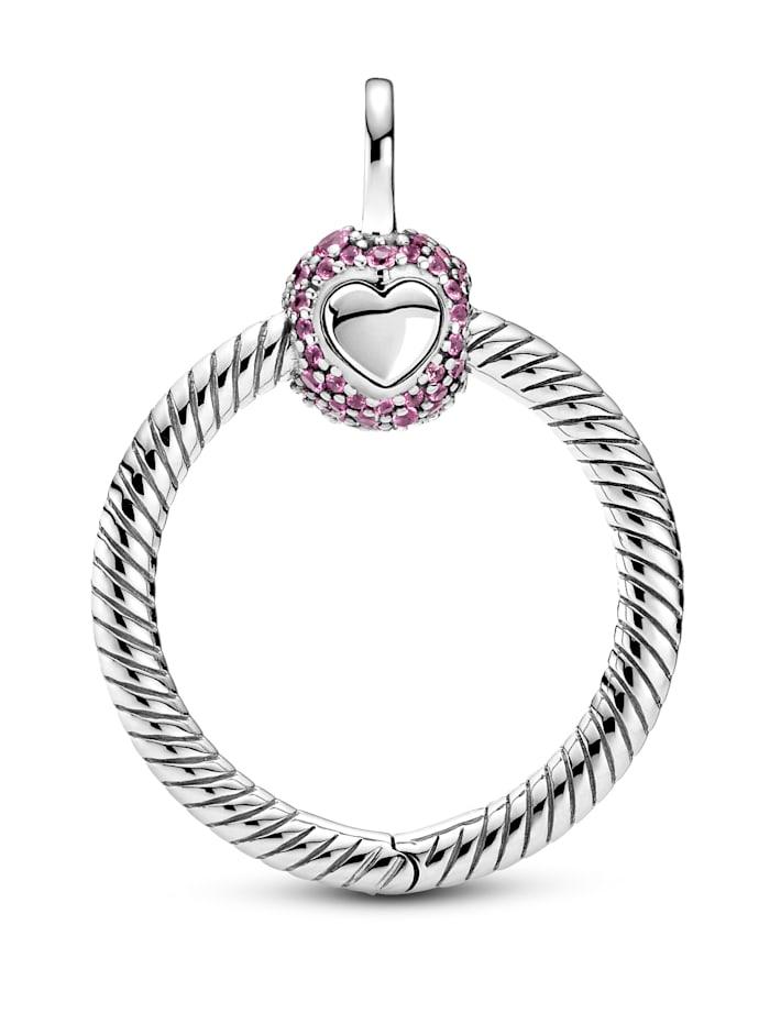 Pandora Kettenanhänger - Kleiner Rosafarbener Pavé O - 399097C02, Silberfarben