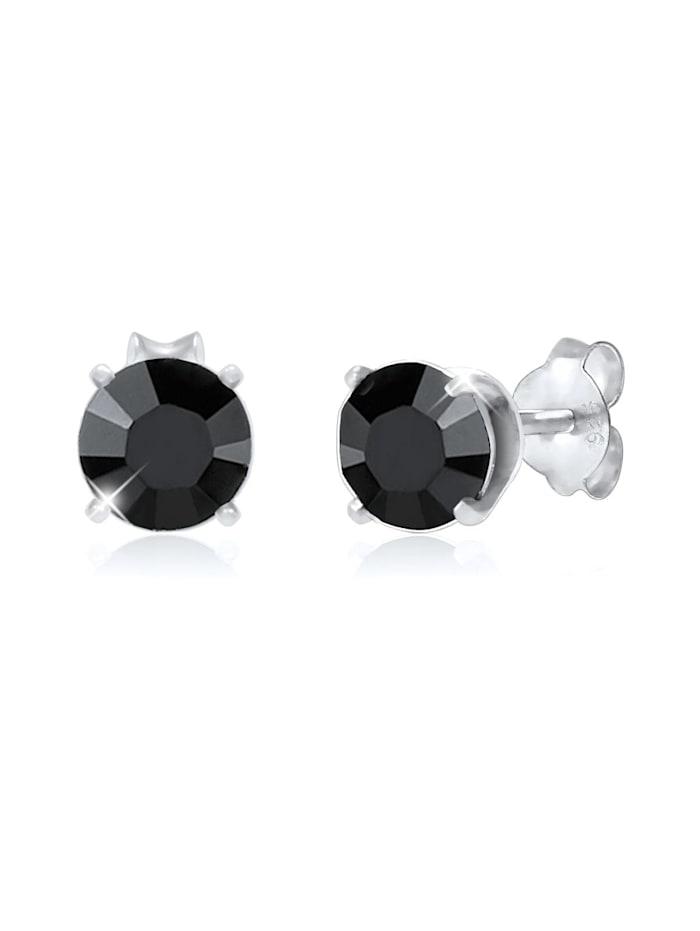 Kuzzoi Ohrringe Basic Stecker Geo Kristalle 925 Silber, Silber