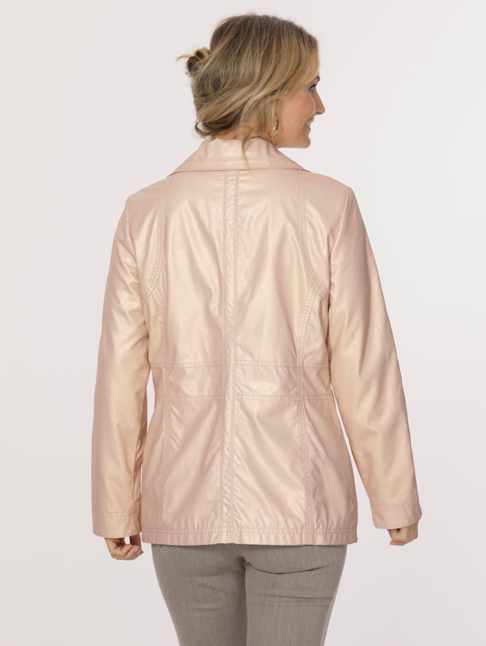 Faux leather jacket with a subtle shimmer
