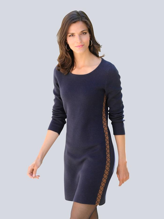 Alba Moda Kleid im exklusivem Jacquardstrick, Marineblau/Cognac