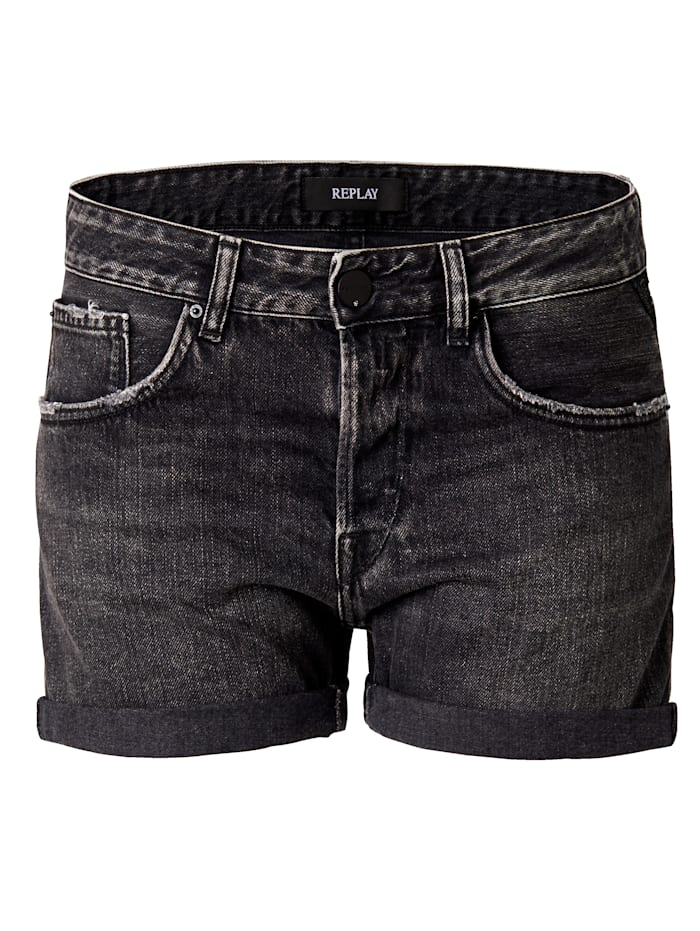 REPLAY Jeansshorts, Grau