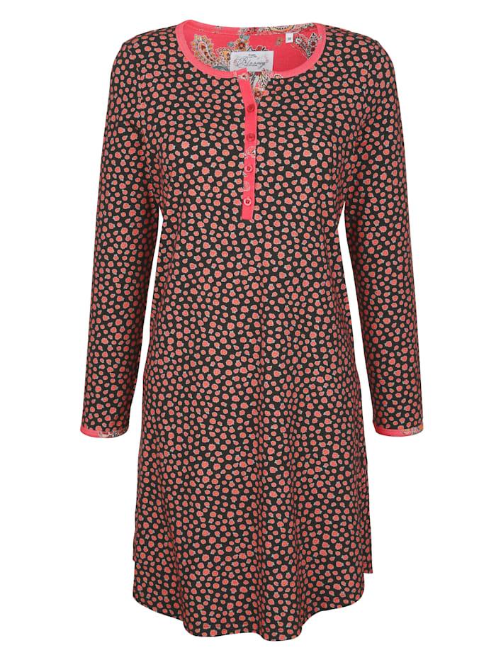 Ringella Bloomy Nachthemd met lange doorknoopsluiting, Zwart/Lichtrood