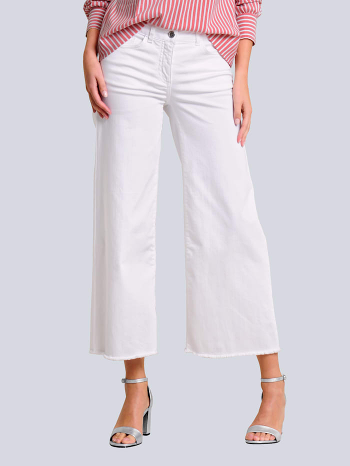 Alba Moda Jean à jambe large, Blanc cassé
