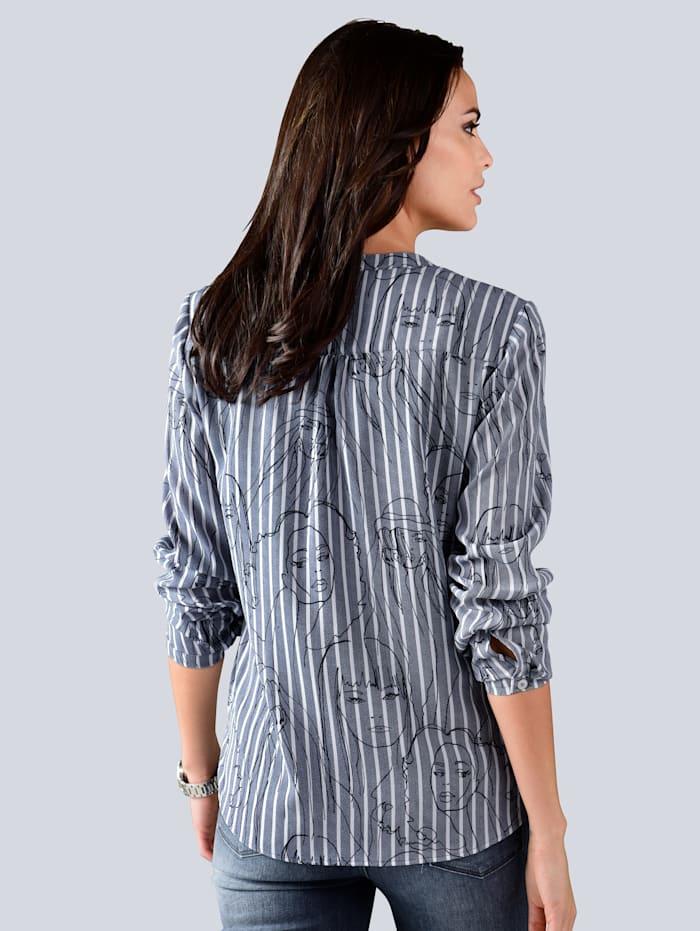 Bluse im Streifendessin mit modischem Print