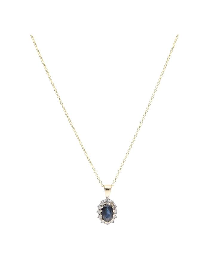 Luigi Merano Kette Safir und Diamanten, Gold 585, Blau