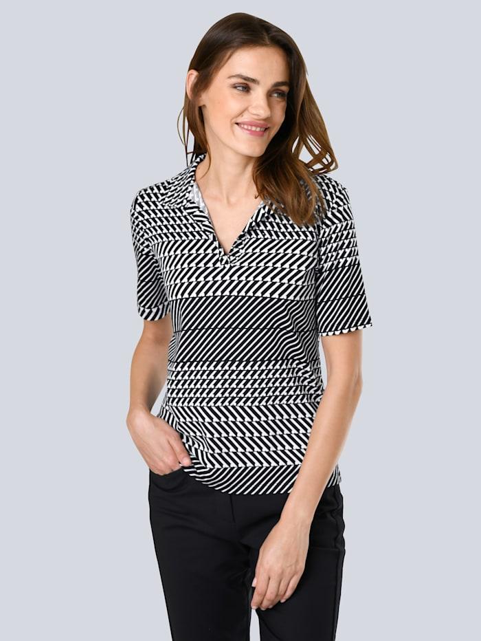 Alba Moda Druck-Shirt mit grafischem Print allover, Schwarz/Off-white