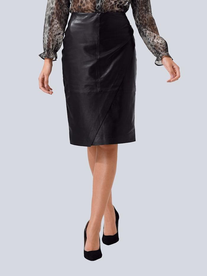 Alba Moda Rock aus hochwertigem, weichen Leder, Schwarz