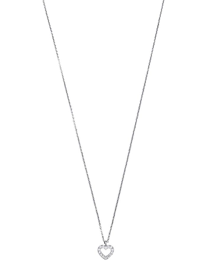 Diemer Platin Hanger Hart met ketting met ketting, Zilverkleur