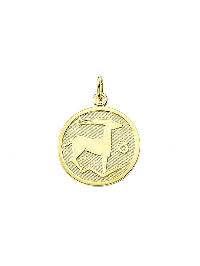 1001 Diamonds Damen & Herren Goldschmuck 333 Gold Sternzeichen Anhänger Steinbock Ø 16 mm, gold
