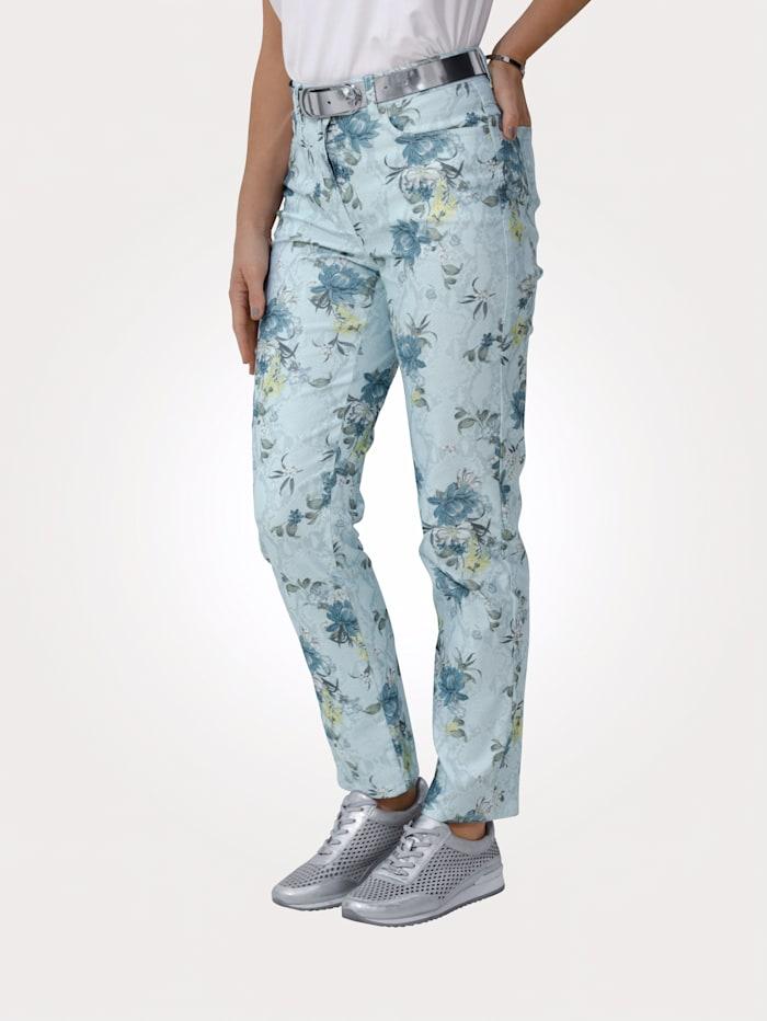 MONA Pantalon à imprimé de fleurs, Bleu glacier/Citron vert