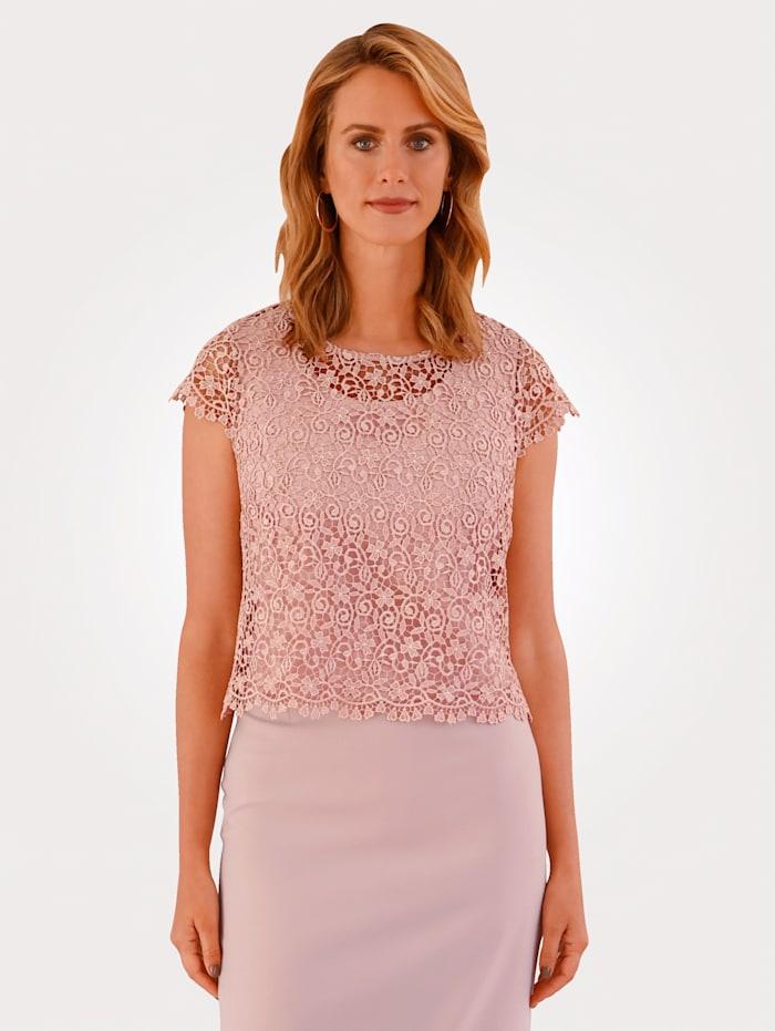 MONA Set aus Spitzenbluse mit Top, Rosé