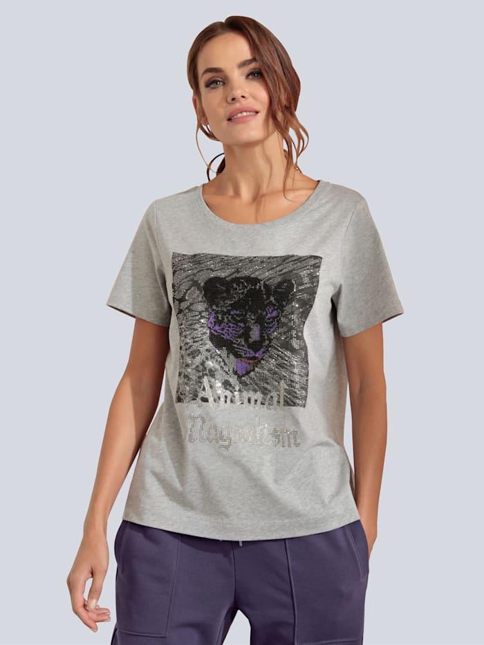 MARGITTES T-Shirt mit Ziersteinen, Silbergrau