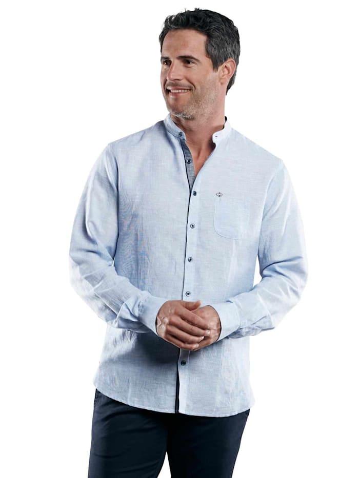 Engbers Stehkragenhemd aus Halbleinen, Royalblau