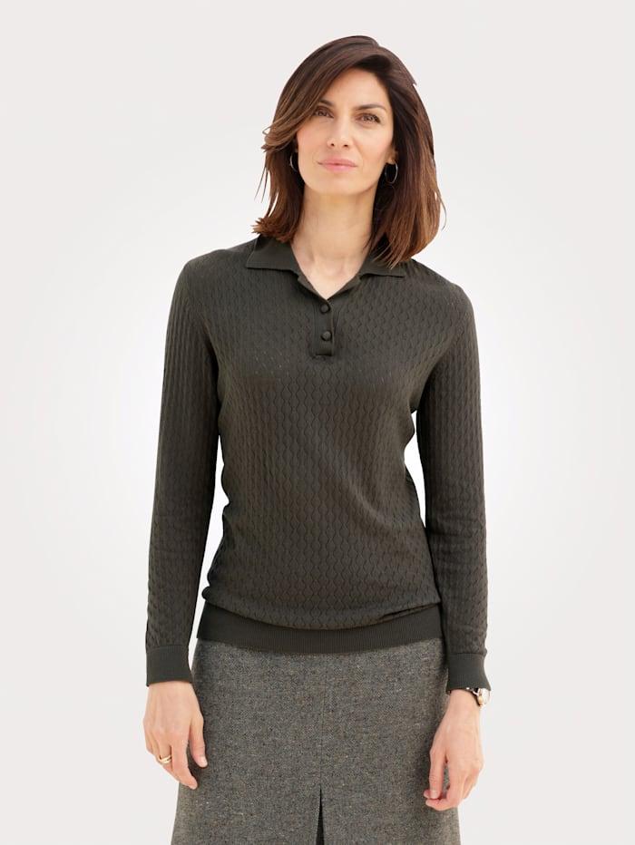 MONA Pullover mit Polokragen, Dunkelgrün