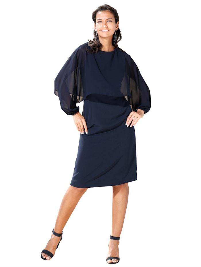 APART Kleid mit Chiffonüberwurf im Cape-Style, Dunkelblau