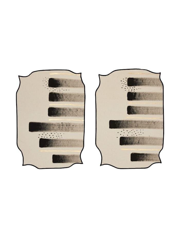 IMPRESSIONEN Platz-Set, 2-tlg., schwarz/weiß