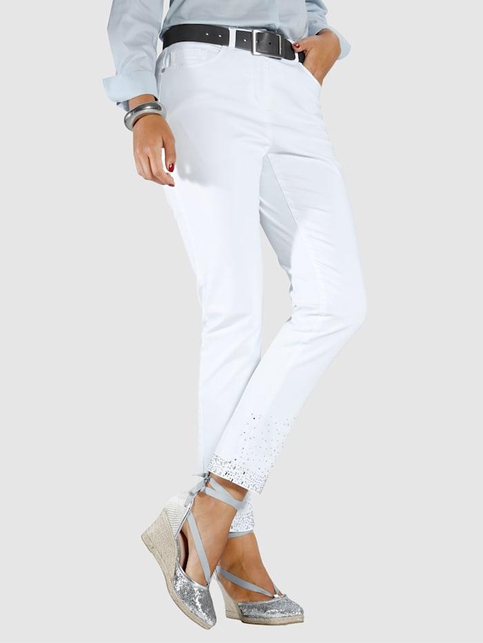 MIAMODA Jeans mit Dekosteinen am Saum, Weiß