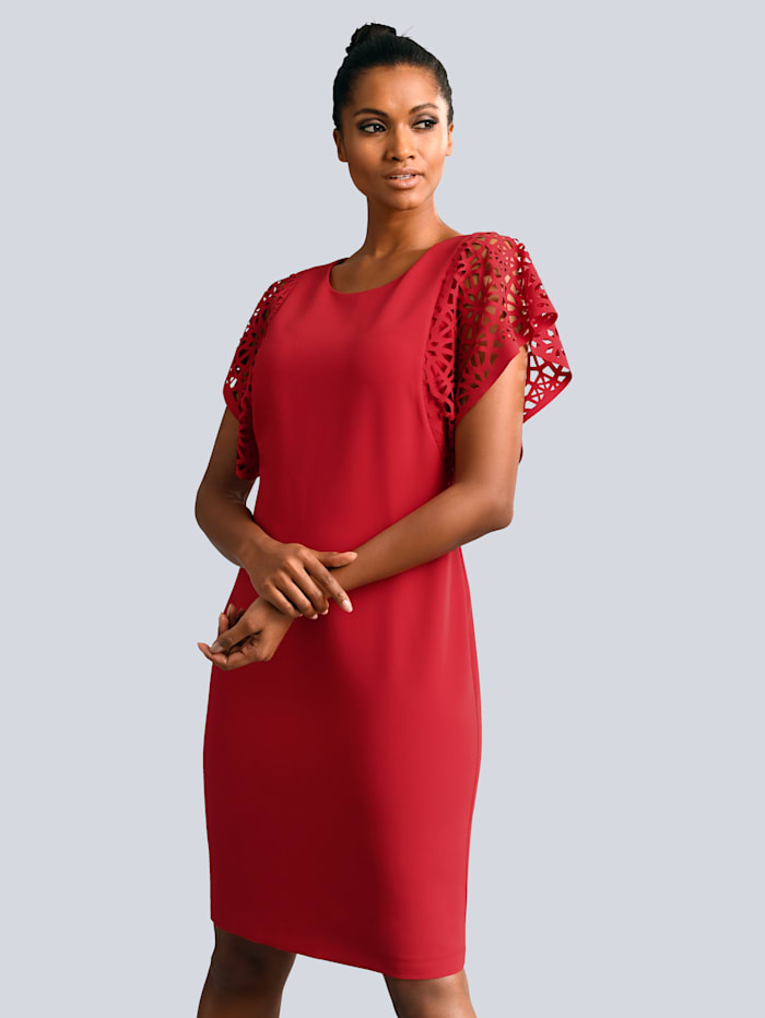 Alba Moda Kleid mit Flügelärmeln, Rot