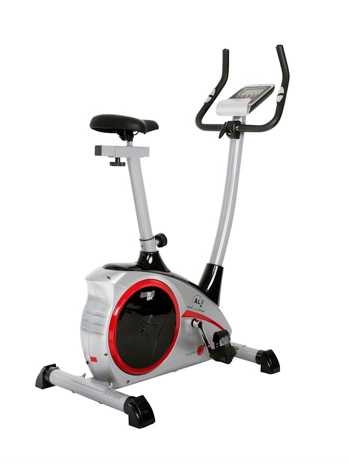 Vélo d'appartement ergomètre AL 2/fonctionnement par bandes à roulement/4 niveaux de résistance/capteurs de fréquence cardiaque intégrés dans le guidon