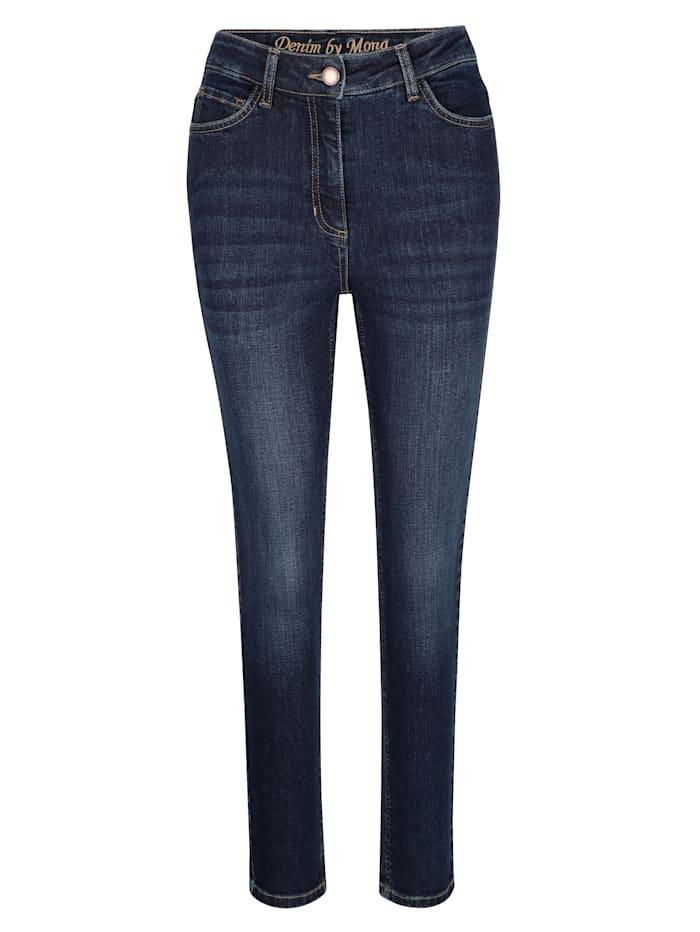 MONA 7/8-Jeans mit schmal zulaufendem Bein, Dunkelblau