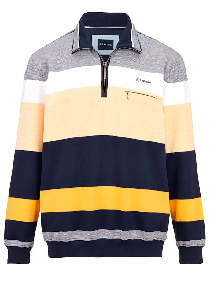 BABISTA Sweatshirt mit feiner Struktur, Marineblau/Gelb