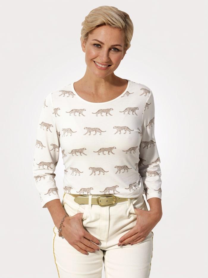 MONA Shirt met animaldessin, Ecru/Beige