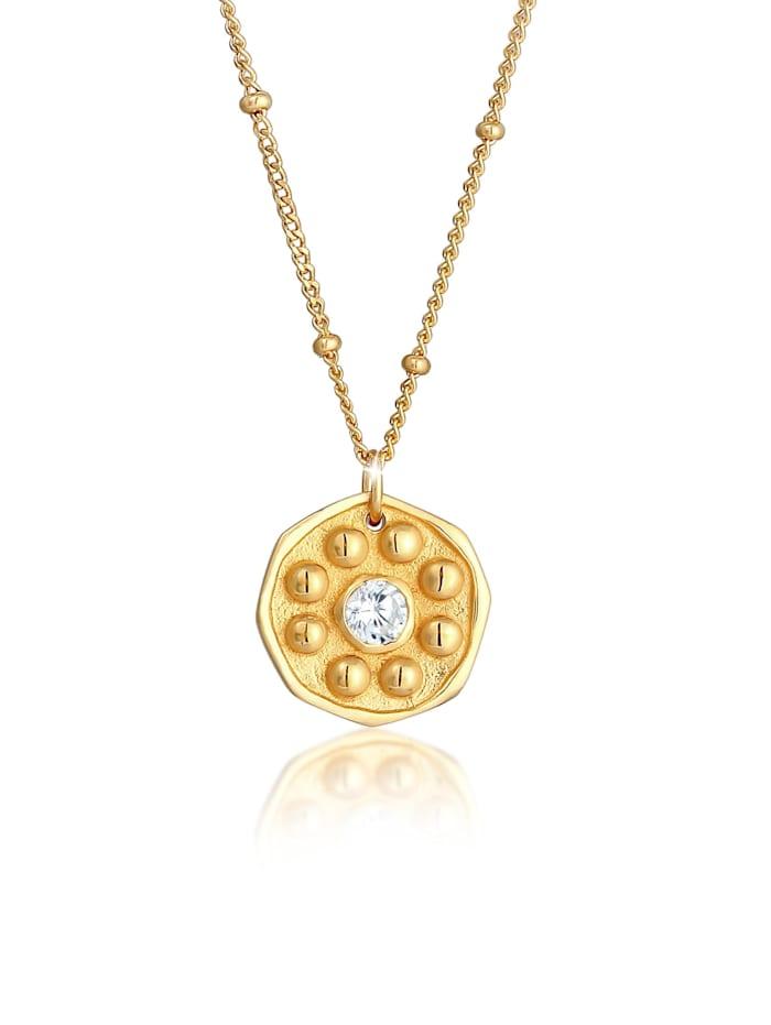 Elli Halskette Kugelkette Coin Münze Antik Zirkonia 925 Silber, Gold