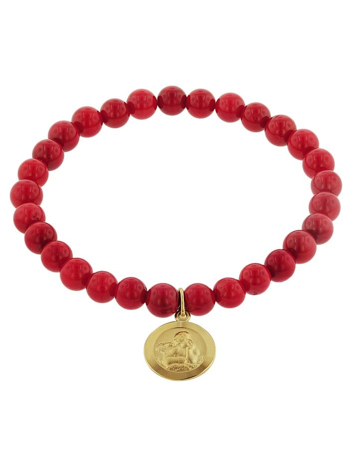 trendor Armband für Mädchen Bambuskoralle Rot mit Engel Gold 333, Rot