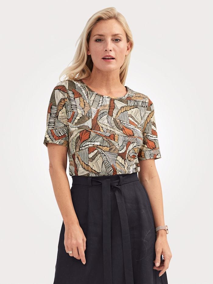 MONA Shirt mit grafischem Druck, Schwarz/Braun